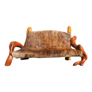 Vintage Beautiful Cowhide and Burlwood Bench