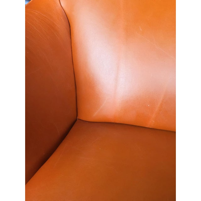 1940s Leather Wingback Armchair Attributed to Frits Henningsen For Sale - Image 9 of 12
