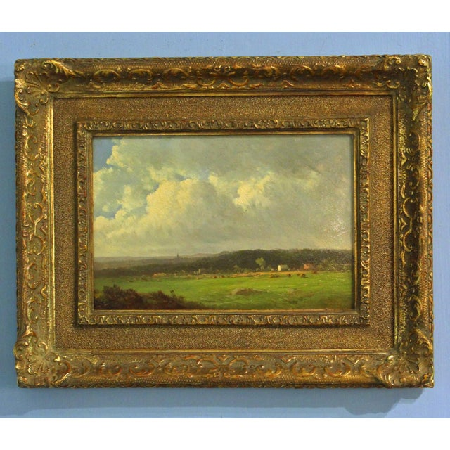"""This is an antique painting entitled """"Berkshire Meadows"""" by Thomas Bigelow Craig (American, 1849-1924). The piece is an..."""