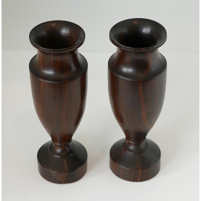 Traditional Antique Turned Wood Urns - Pair For Sale - Image 3 of 5