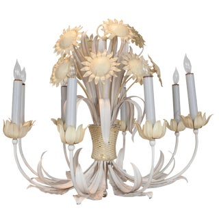 White and Yellow Painted Tole Chandelier With Sun Flower Decoration For Sale