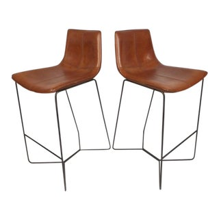 Pair of Modern Stools With Leather Upholstery For Sale