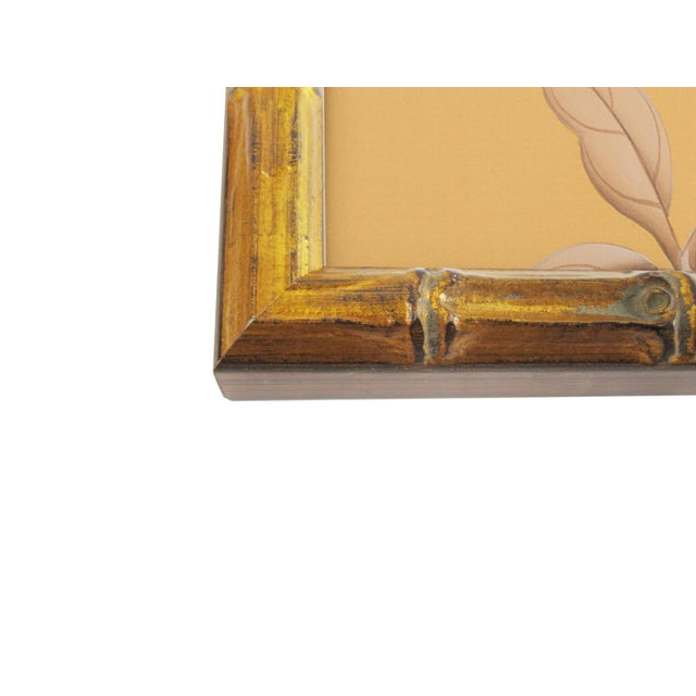 1970s Red-Breasted Bird on Bamboo Branch Painting For Sale - Image 5 of 6