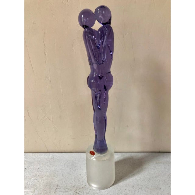 Amethyst 1980s Murano Glass Embracing Couple Figurative Sculpture For Sale - Image 8 of 8