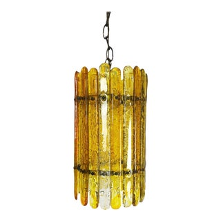Feders Amber Hand Blown Glass Chandelier For Sale