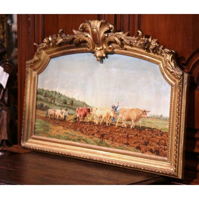 Early 20th Century French Oil Cows Painting in Carved Arched Gilt Frame For Sale - Image 9 of 10