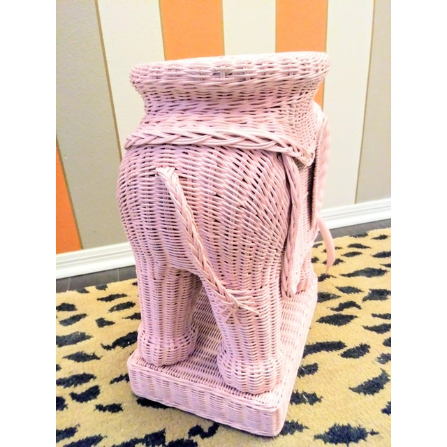 Hollywood Regency Palm Beach Regency Pale Pink Wicker Elephant Side Table or Plant Stand For Sale - Image 3 of 5