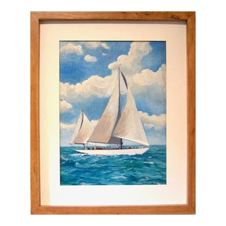 1930s Primitive Oil Painting of Sailboat at Sea For Sale