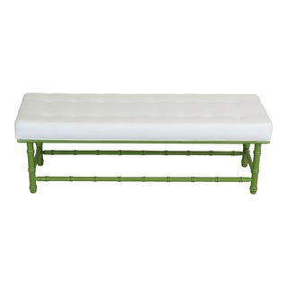 Mid Century Faux Bamboo Bench, Green Bench, Cream Linen Bench, Bamboo Bench For Sale