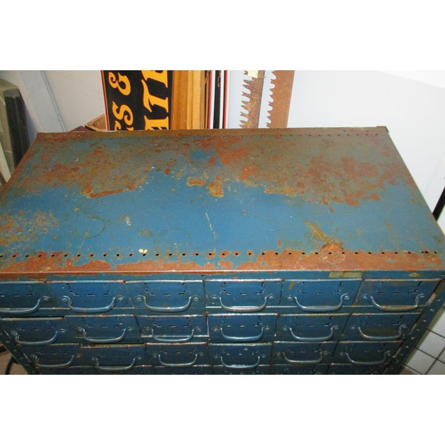 1960s Vintage Industrial Equipto Muti Draw Parts Cabinet For Sale - Image 5 of 13