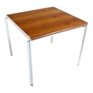 Mid-Century Modern Stow Davis Walnut and Chrome Coffee Table For Sale