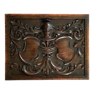 Antique Gothic Medieval Knight Carved Wood Cabinet Panel For Sale