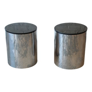 Paul Mayen for Habitat Polished Aluminum and Black Granite Drum End Tables, Pair For Sale