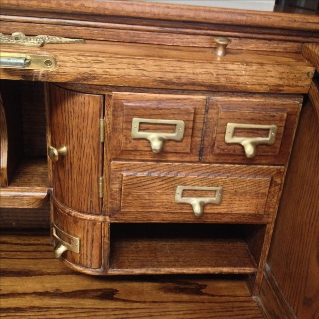 Eagle Craft Oak Roll Top Secretary Desk For Sale - Image 7 of 11