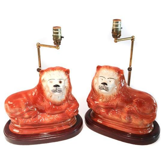English Staffordshire Style Ceramic Lion Lamps - a Pair - Image 1 of 5