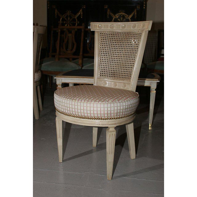 Set of Four White Painted Cane Back Chairs Stamped Jansen For Sale In New York - Image 6 of 10