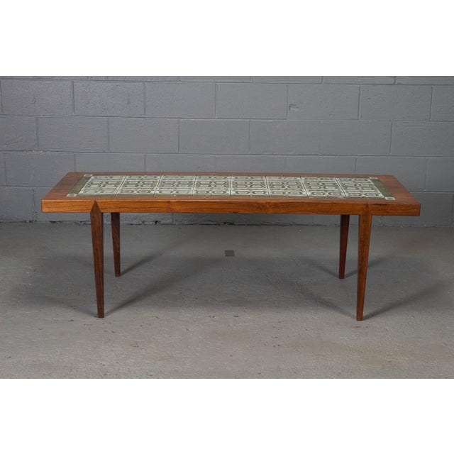 Rosewood and Green Tile Coffee Table For Sale - Image 10 of 10