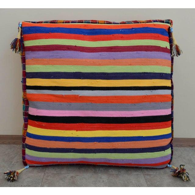 Turkish Hand Woven Kilim Floor Cushion - 30″ X 30″ - Image 7 of 10
