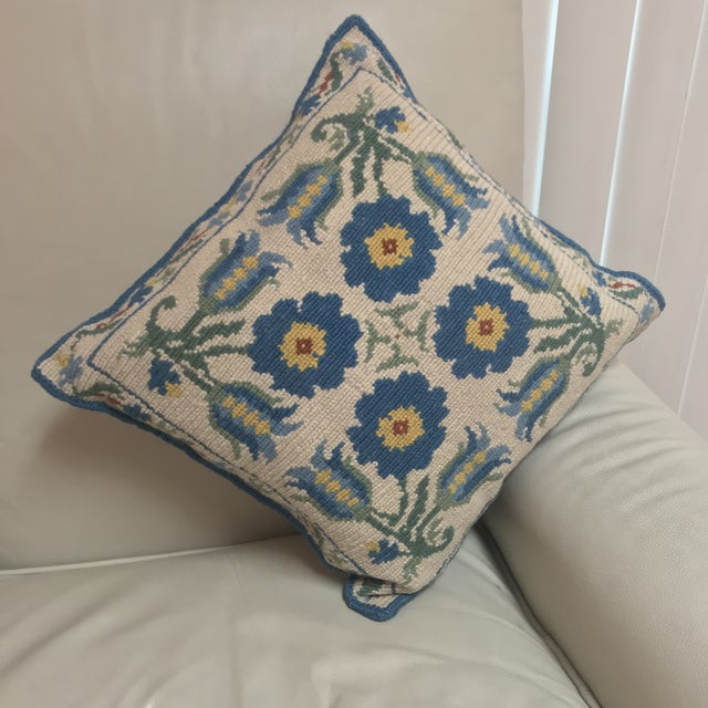 1950s Shabby Chic Handmade Needlepoint Pillow For Sale - Image 12 of 13