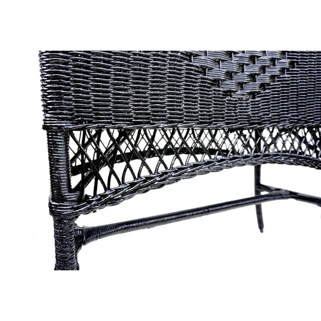 Black Black Lacquered Wicker Plant Stand Arched Trellis Fernery Box For Sale - Image 8 of 11