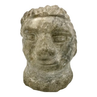 Mid-Century Stone Carving Reproduction of Ancient Primitive Roman God Head