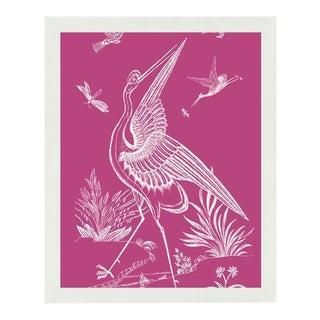 """Pink Crane"" White Framed Wall Art"