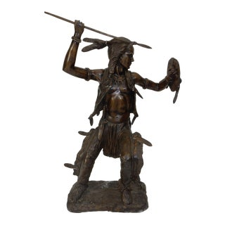 Large Intricate Indian Bronze Warrior Statue 38 Inches