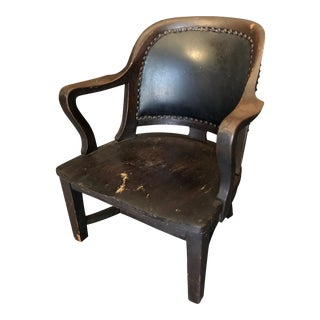 1940s Vintage Stout and Wide Wood and Leather Studded Bowed Back Reading Chair For Sale