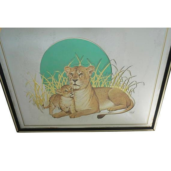 Add a bit of boho to your home décor with this beautiful painted pictorial mirror. The painted mother and baby lion give...