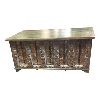Vintage Distressed Natural Wood Trunk Table