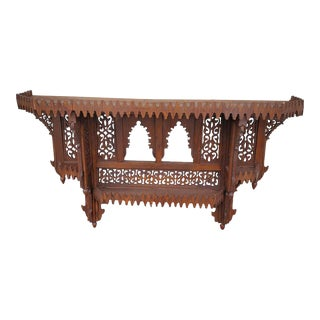 Moroccan Wooden Brown Wall Shelf For Sale