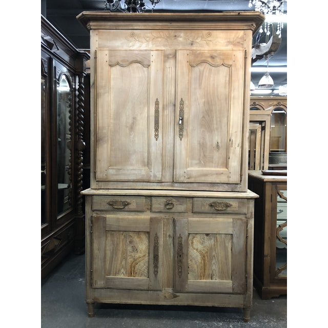 19th C. French Cherry Wood Buffet Deux Corps Armoire For Sale - Image 13 of 13