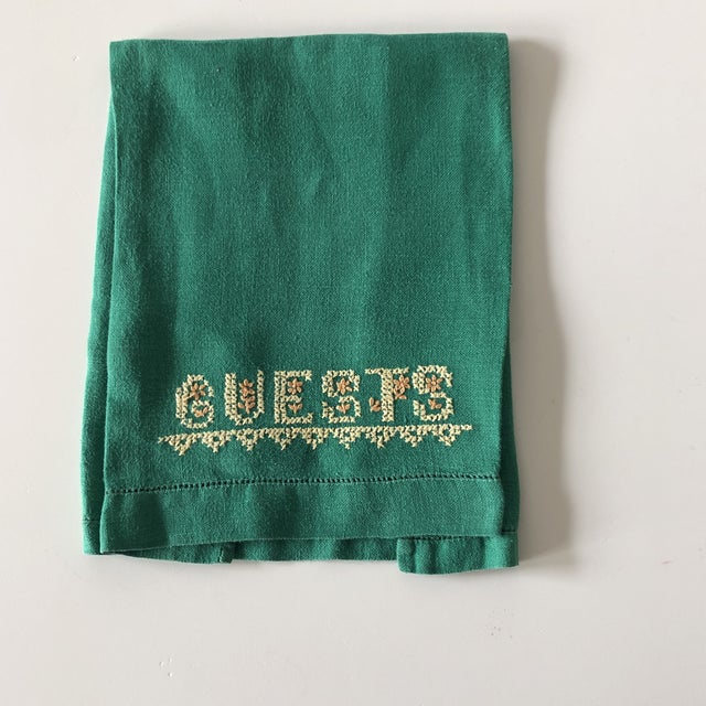 Vintage Green and Yellow Embroidered Guest Linen Guest Towel France 1980's Size: 18.5 x 11.5 x 0.03