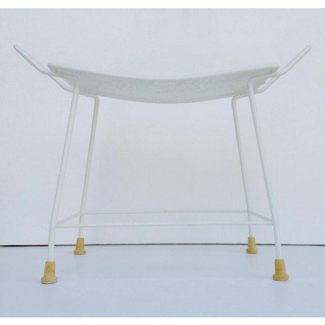 Metal Mid-Century White Enameled Metal Stool For Sale - Image 7 of 11