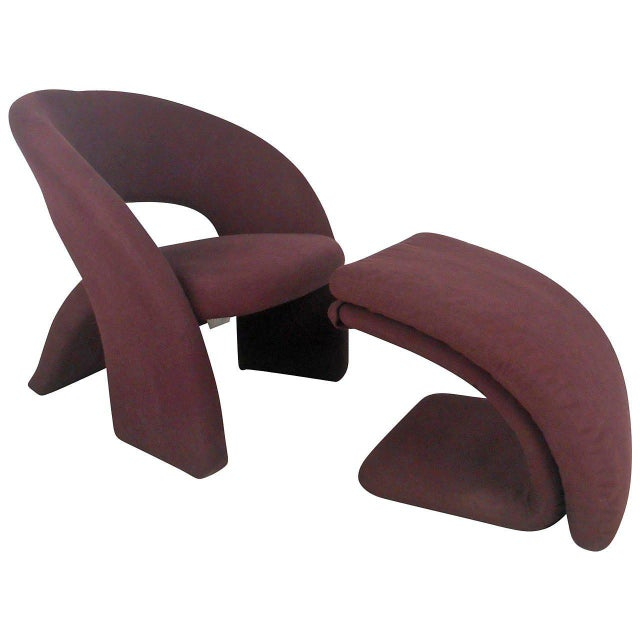 Contemporary Modern Sculptural Lounge Chair with Ottoman - Image 11 of 11