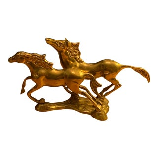 1960s Solid Brass Racing Horses Statue For Sale