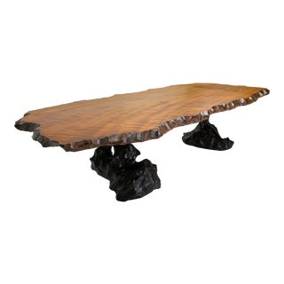 Mid-Century Modern Large Live Edge Coffee Table For Sale