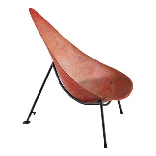 Early French fiberglass easy chair in red by Merat, France, 1956 For Sale