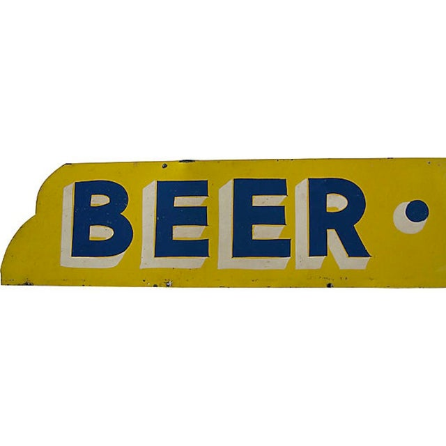 Large art deco style metal hand-lettered Wine Beer sign found in Maine. Sign has yellow background with blue and white...