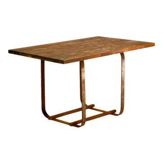 Mid-Century Style Wood and Forged Iron Table For Sale