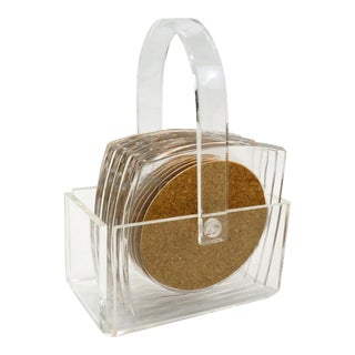Lucite and Cork Coasters With Caddy - Set of 6 For Sale