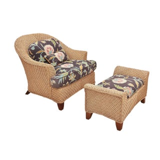 Modern Boho Chic Braxton Culler Rope Chair & Matching Ottoman For Sale