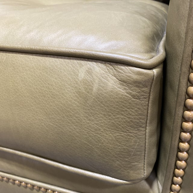 Swaim Olive Leather Club Chairs - a Pair For Sale In Richmond - Image 6 of 13
