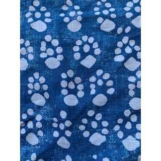 Soane Britain Paw Print Blue Fabric Remnants For Sale
