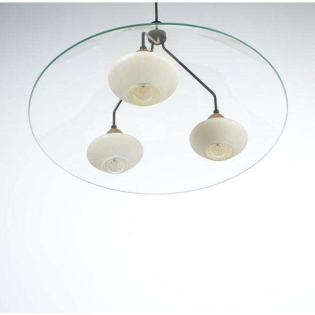 Mid-Century Modern Angelo Lelii Style Ufo Chandelier Clear Glass Brass, Italy Circa 1955 For Sale - Image 3 of 13
