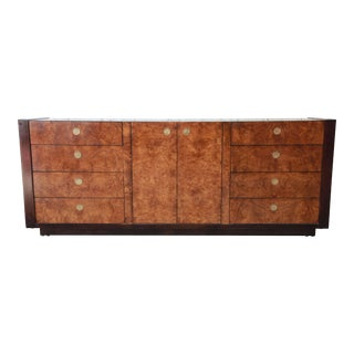 Hollywood Regency Burled Olive Wood Credenza by Century Furniture For Sale