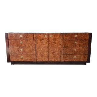 Hollywood Regency Burled Olive Wood Credenza by Century Furniture For Sale