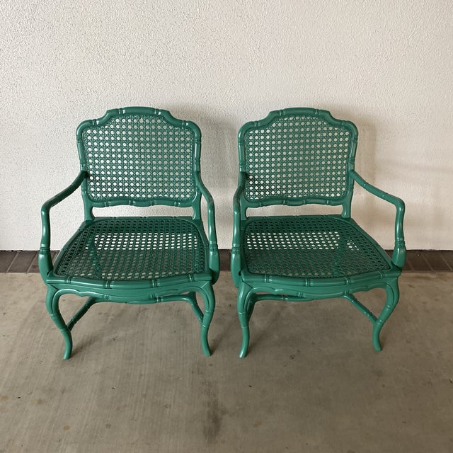 Vintage Green Lacquered Chairs - a Pair For Sale - Image 10 of 11