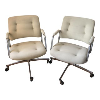 1970's Steelcase Upholstered Swivel Office Chairs - A Pair