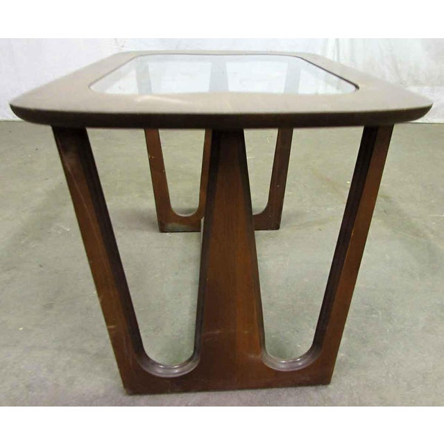 Glass Mid-Century Style Wood End Table For Sale - Image 7 of 7